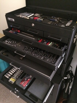 My father's actual tool box. I don't know how he does it.