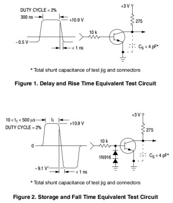 Rise and fall time test circuits for the 2N3904