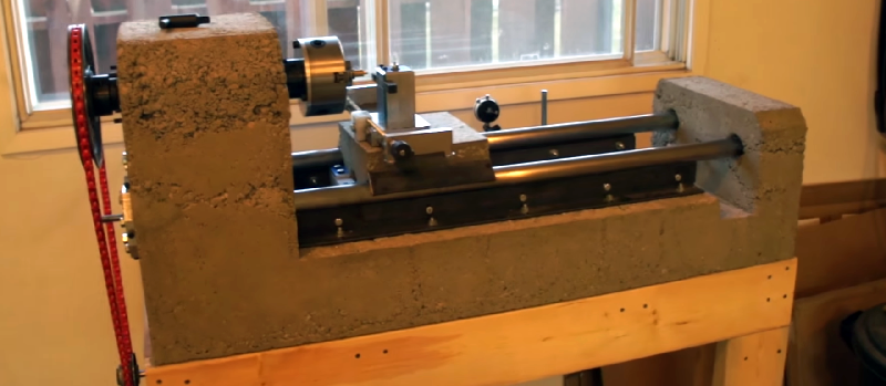 Casting A Lathe Out Of Concrete | Hackaday