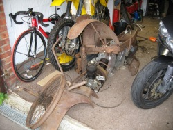 Most of the rusty parts you need to make a motorcycle.