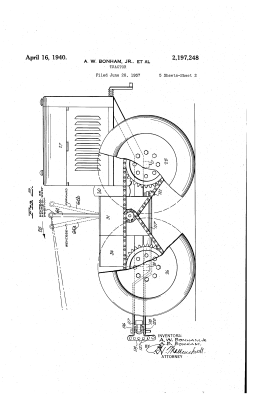 US Patent US2197248A, 1937. The Bonham brothers' Power Horse tractor. Via Google Patents.