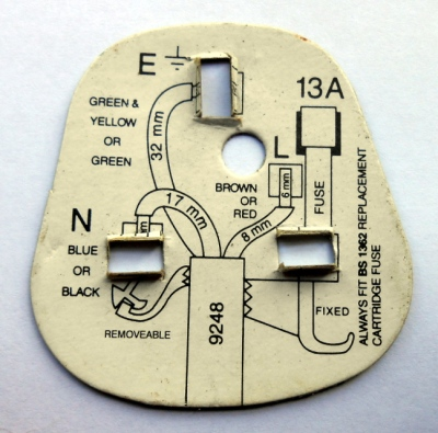 The instruction card supplied with a BS1363 plug, showing the ideal lengths for the various wires.
