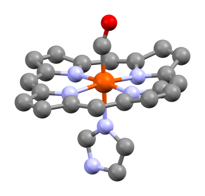 Carboxyhemoglobin molecule, by Rifleman 82 via Wikipedia
