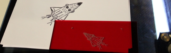 Hand drawing and laser etching - rocket