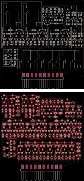 A circuit design split into modules (top) which is turned into a mostly complete PCB after running a script (bottom)