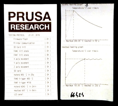 The Included QC report. Prusa is known for shipping parts that fail his tests back to manufacturers
