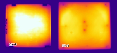 A thermal image showing the effect of the new heated bed.