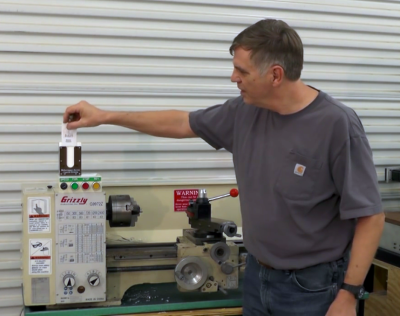 Demonstrating the Makerspace Access Control System for a lathe