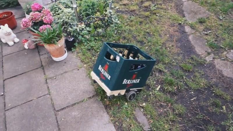 Remote control beer crate traversing rough terrain