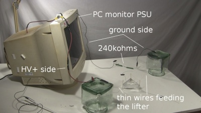 PC monitor power supply powering lifter