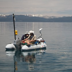 DIY Research Vessel in use, while ROV is busy below. [Source: NYT]