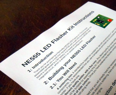 A printed copy of the instructions for our example kit