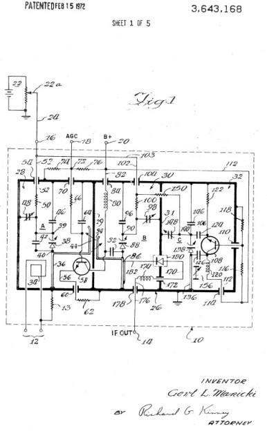 A varicap TV tuner circuit, from US patent 3643168 filed in July 1969.