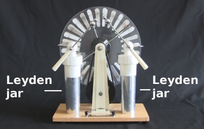 Wimshurst machine with Leyden jars