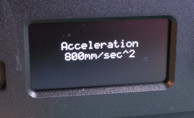 The stock acceleration of this printer is 800mm/sec². The default acceleration for Marlin is 3000mm/sec².
