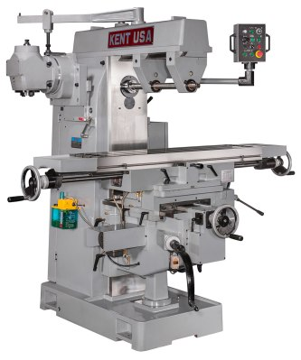 Notice how the overhead arm of the horizontal milling machine braces the spindle arbor on both sides (photo courtesy of Kent USA)