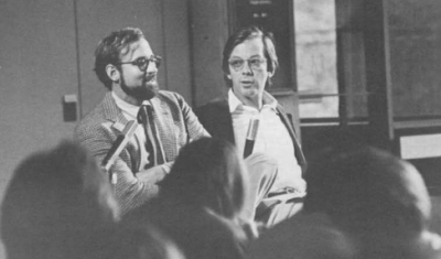 Tracy Kidder (left) and Tom West supply a talk at the computer museum