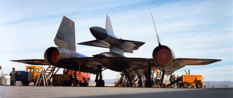 The M-21 carrier aircraft and D-21 drone. The M-21 was a variant of the A-12 reconnaissance aircraft, predecessor to the SR-71 reconnaissance aircraft.