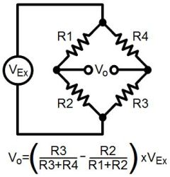 Wheatstone bridge and voltage output formula