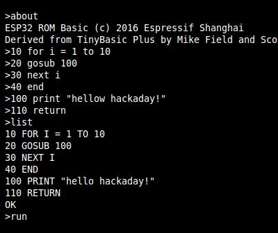 BASIC Interpreter Hidden In ESP32 Silicon   Hackaday