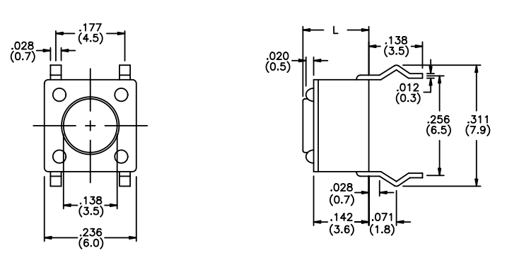 The ubiquitous tact switch. This is taken from the Apem Inc. MJTP-series datasheet
