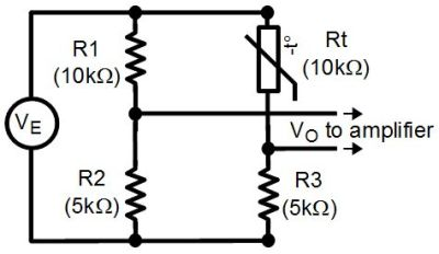 Wheatstone bridge with thermistor for temperature