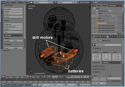Batteries and motors in Blender