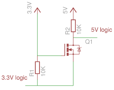 The bidirectional MOSFET level shifter.