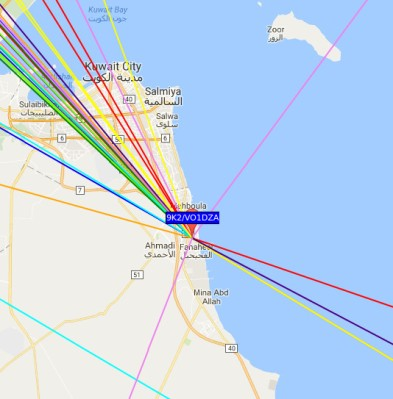 [9K2/VO1DZA], a Canadian licencee working 30m WSPR in Kuwait, showing the Kuwaiti prefix in front of the Canadian callsign.