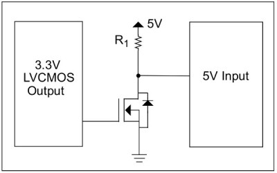 An inverting MOSFET logic level step-up circuit. Yet again, from Microchip app note DS41285A.