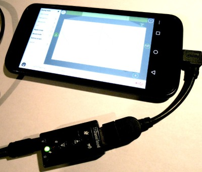 A cheap USB sound card as an Android audio input.
