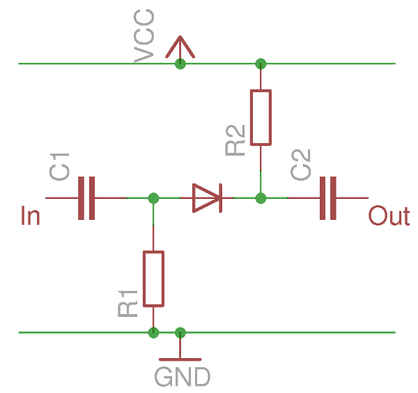 a simplified diode switch in the reverse biased off position
