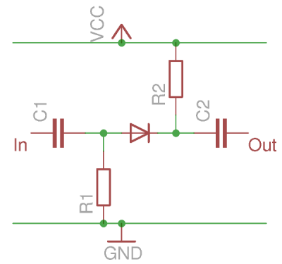 A simplified diode switch in the reverse biased Off position.