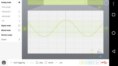 LabNation's SmartScope showing a 1kHz sine wave.