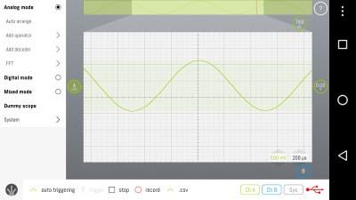 LabNation's SmartScope showing a 1kHz sine wave.