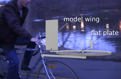 Model wing test using a bicycle