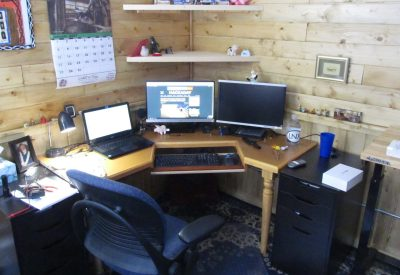 "Office side of my little ""hack shack,"" a prefabricated 10'x12' shed. All the interior woodwork is mine except for the IKEA cabinets. I like wood."