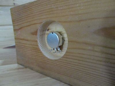 """Counterboring for mounting pot to a wood panel. I hogged out the wood to 1/8"""" thick with a Forstner bit."""