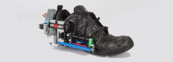 Self-lacing LEGO shoe
