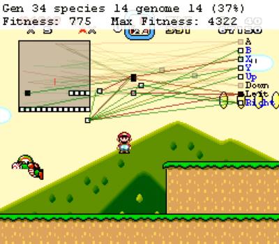 Seth Bling's neural network learning Super Mario World