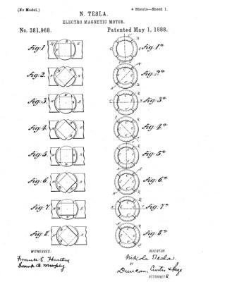 Tesla's patent US381968 Electro Magnetic Motor