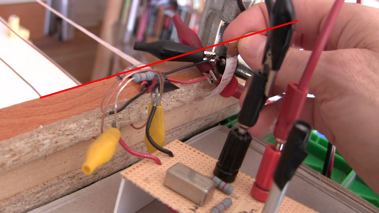 Lecher line loop and measuring tape alignment.