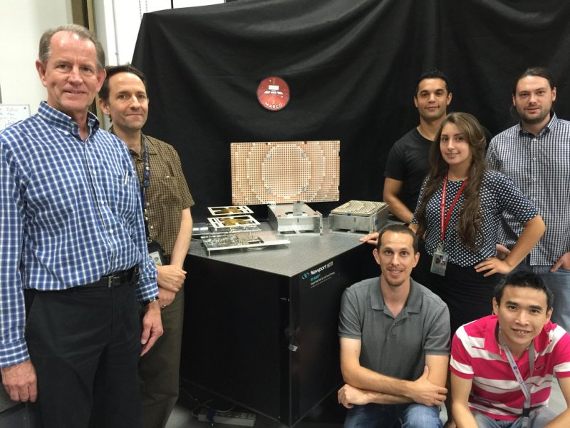 MarCO team at JPL poses with the prototypes