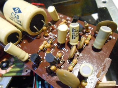 Vintage components on the pre-amp board.