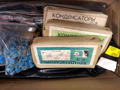 Russian capacitors in an impressive box of donated components.