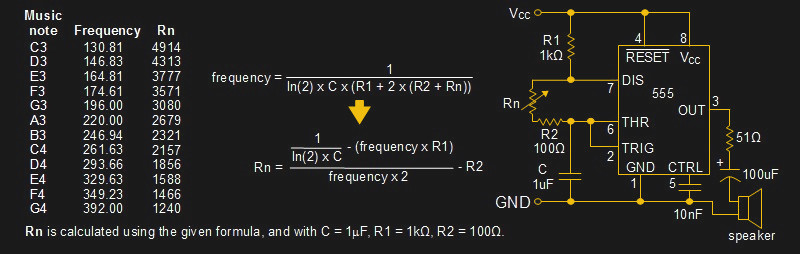 Resistances for musical notes and 555 timer circuit