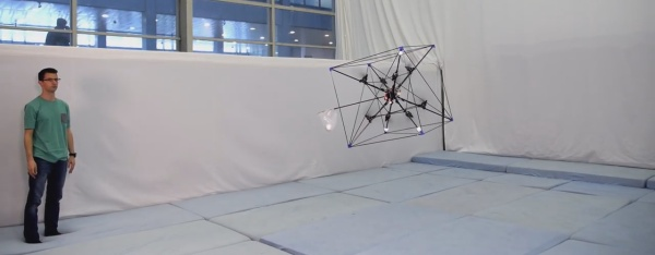 Omnicopter catching a ball