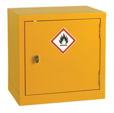 A typical flameproof chemical storage cabinet, RS Stock No.424-5364.