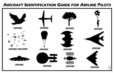 An oft-shared drone identification guide for airline pilots, of uncertain provenance.