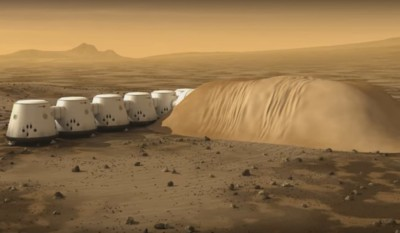 Mars One living units under regolith